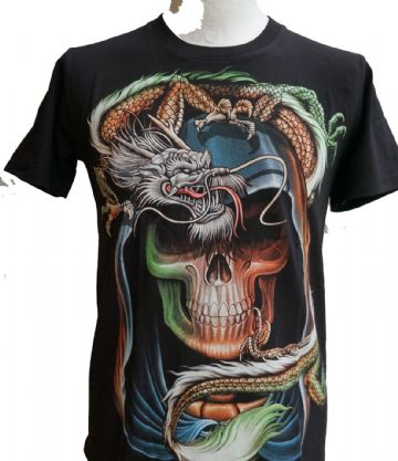 Skull And Dragon T Shirt With Large Colour Back Print